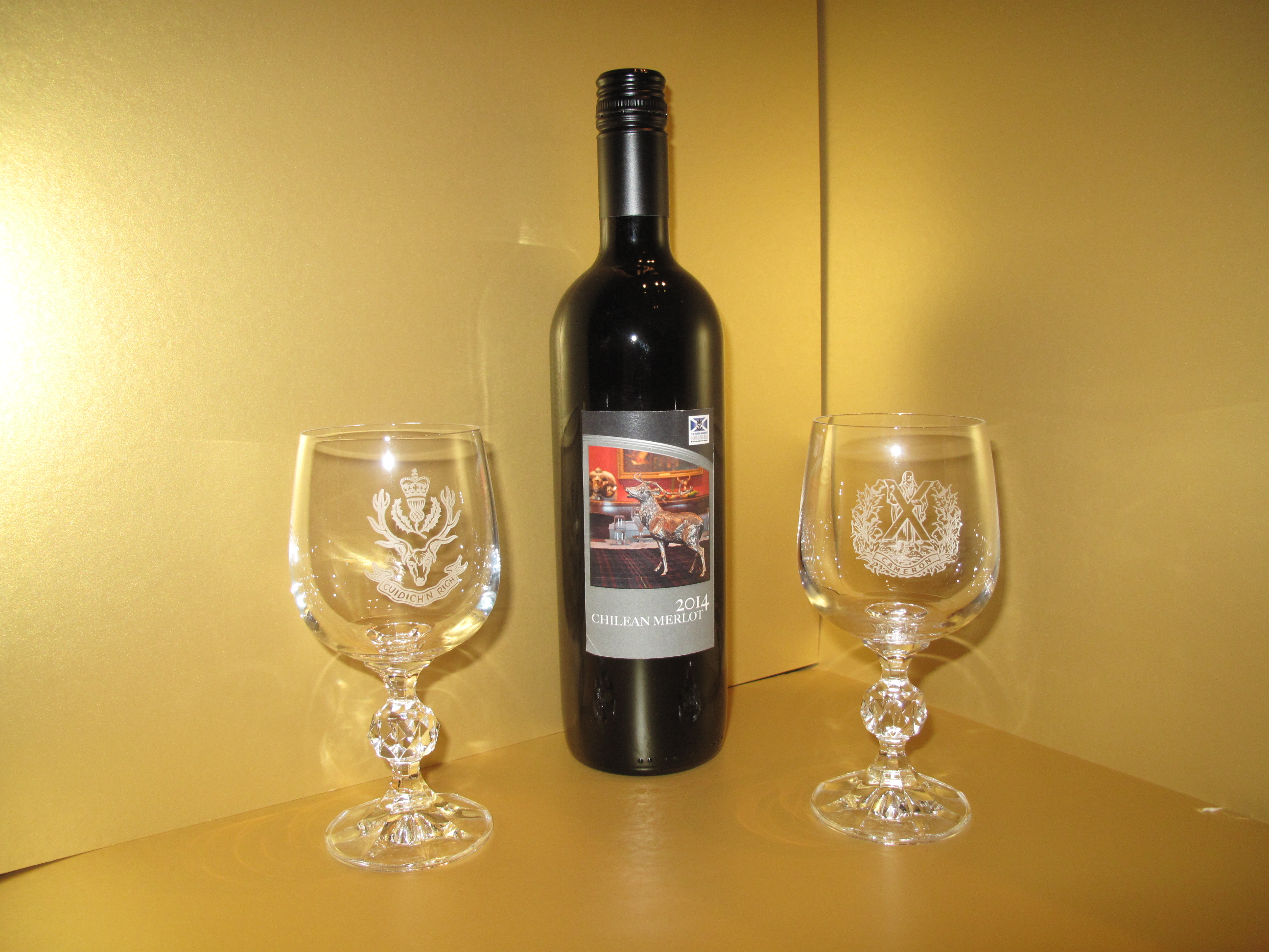 The Queens' Own Cameron Highlanders Wine Glasses - set of two