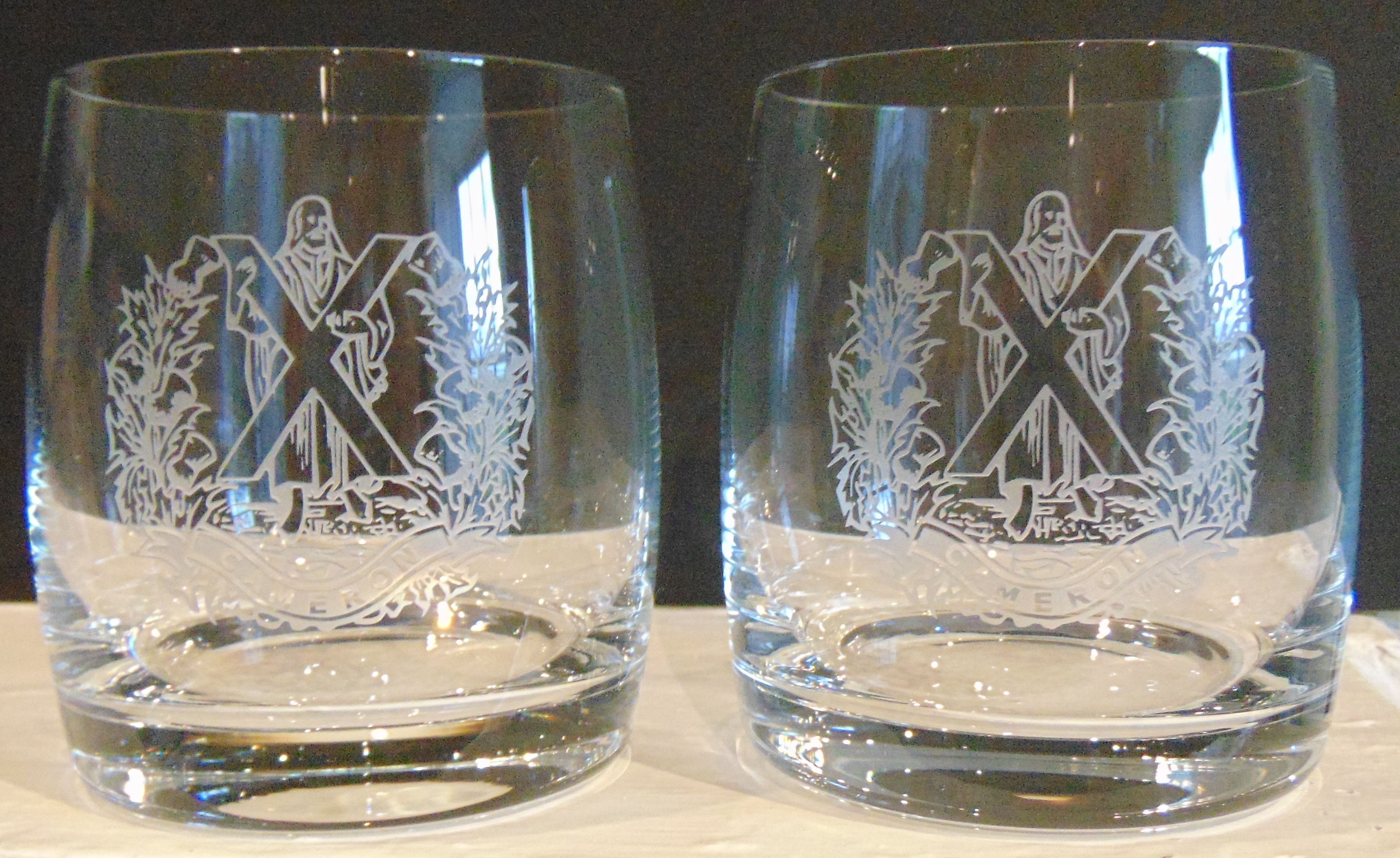 The Queens Own Cameron Highlanders Whisky glasses set of two