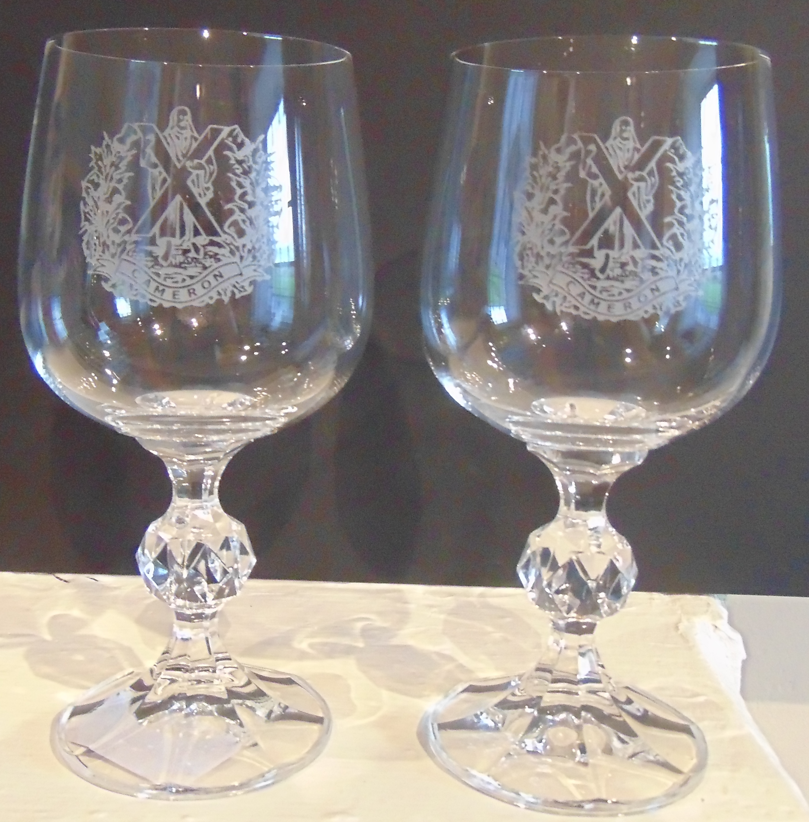 The Queens Own Cameron Highlanders set of two Wine Glasses