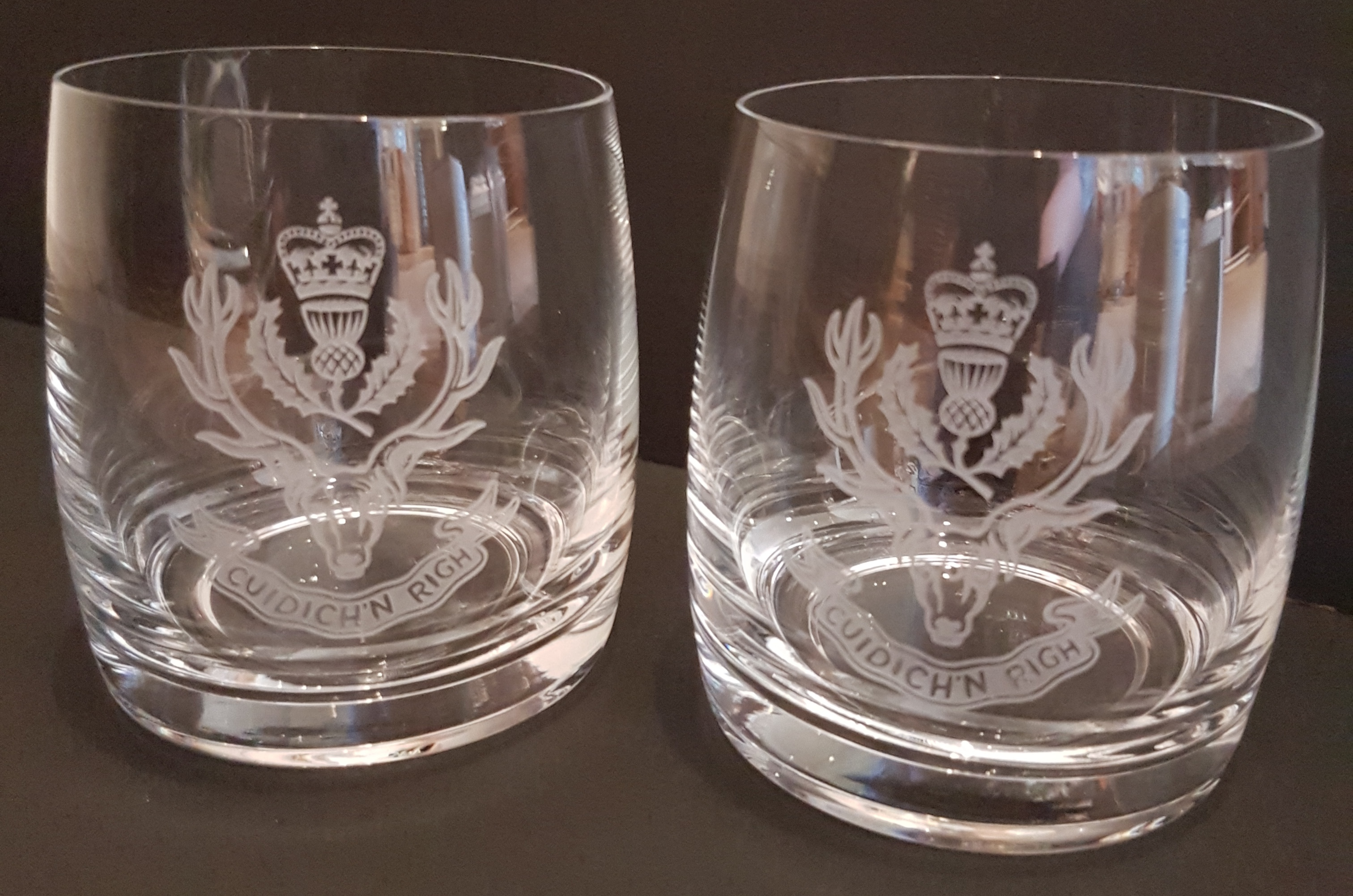 Queen's Own Highlander Whisky Glasses x 2