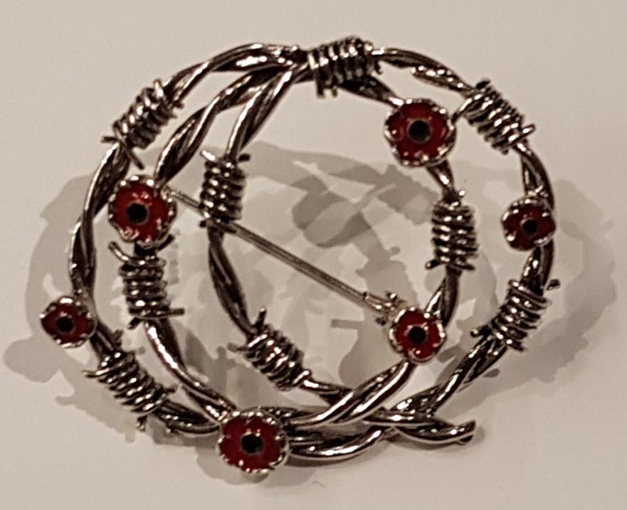Barb Wire Poppy Brooch