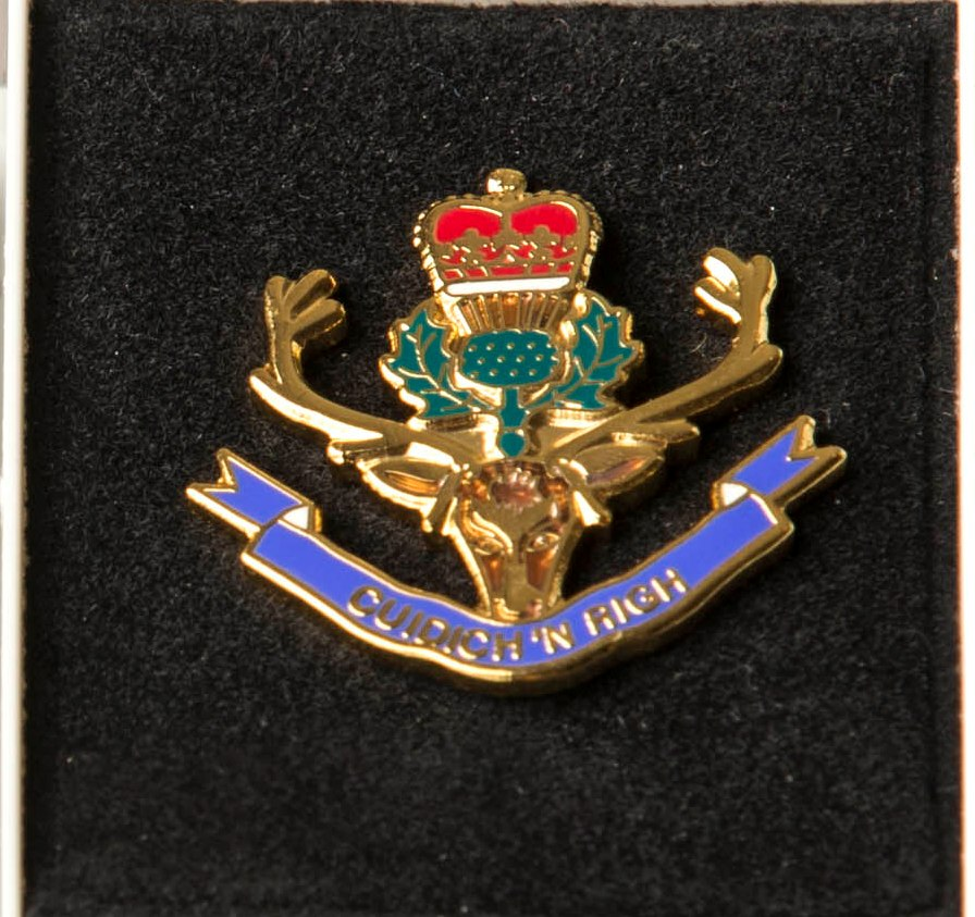 Queen's Own Highlanders(Seaforth and Camerons) lapel badge.