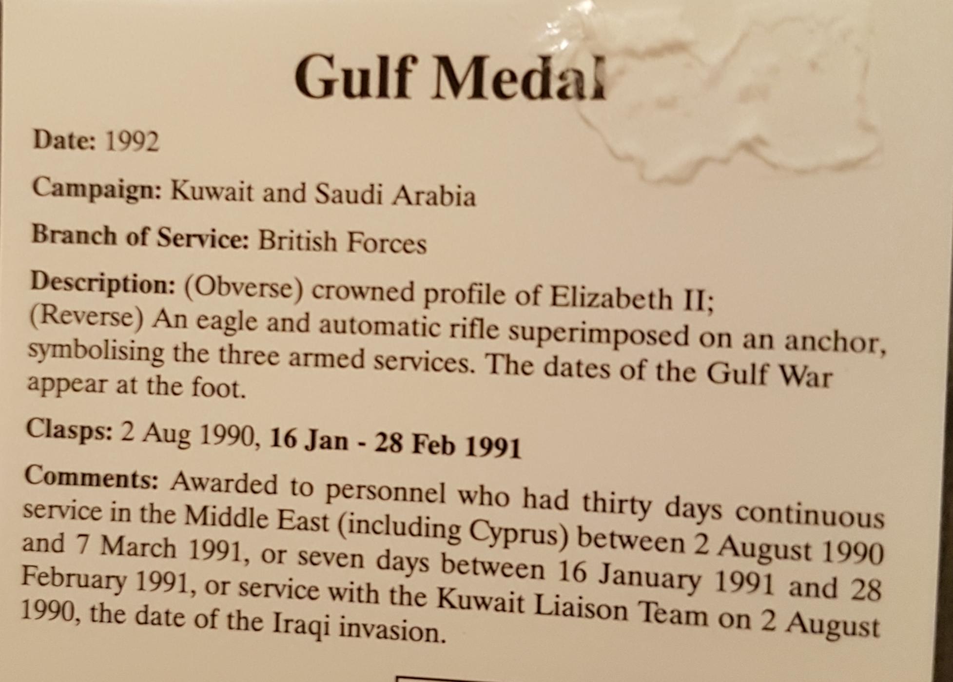 Gulf Medal - miniature