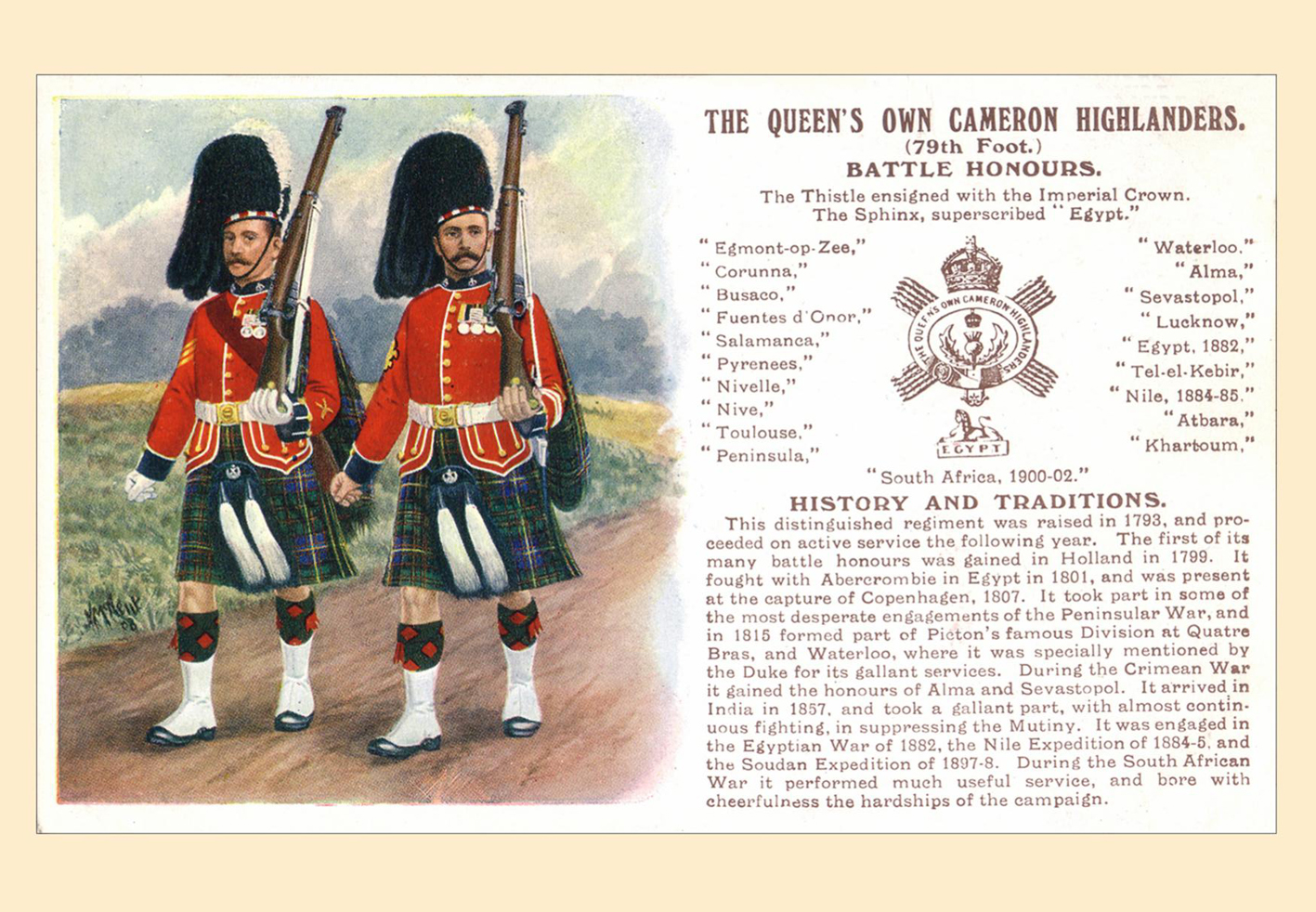 Postcard - The Queen's Own Cameron Highlanders (79th Foot) Battle Honours
