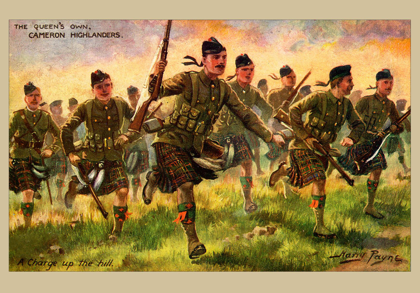 Postcard - A Charge up the Hill - The Cameron Highlanders