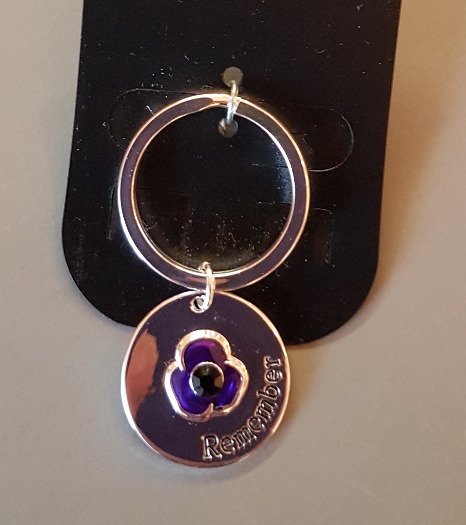 Purple Poppy Dog Tag / Keyring