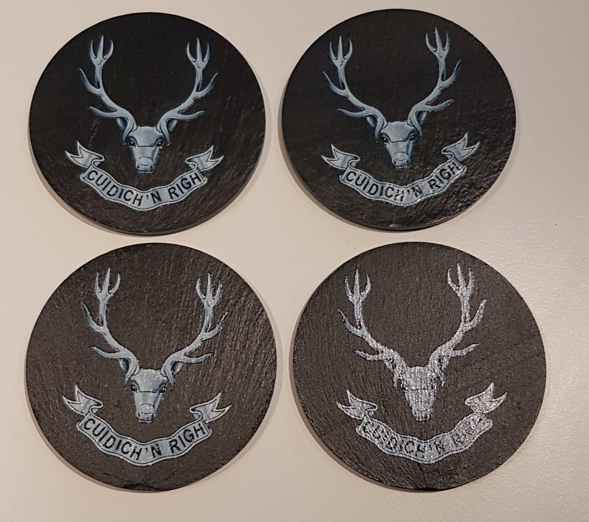 Slate Coasters x 4 Seaforth Highlanders