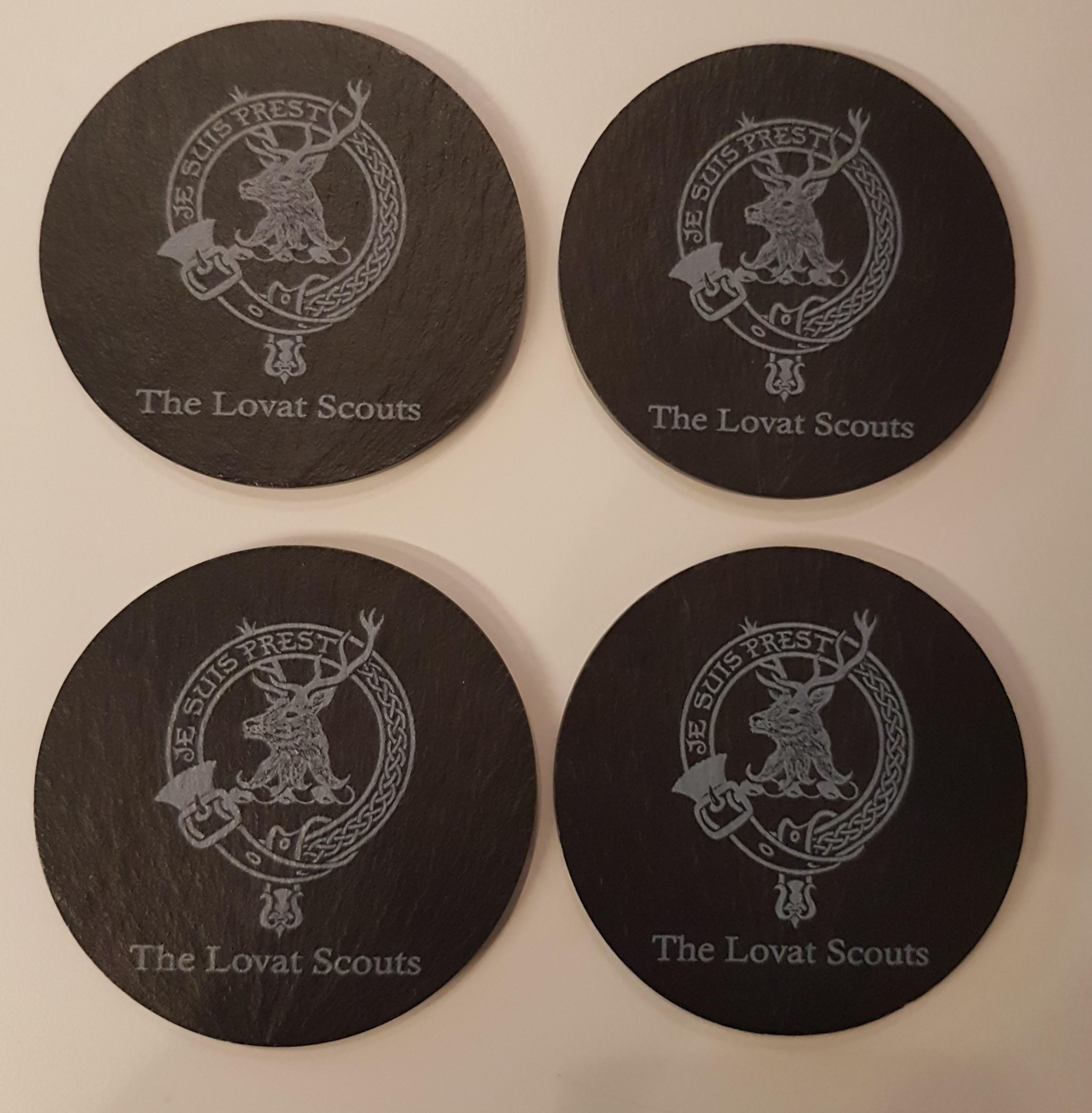 Slate Coasters x 4 Lovat Scouts