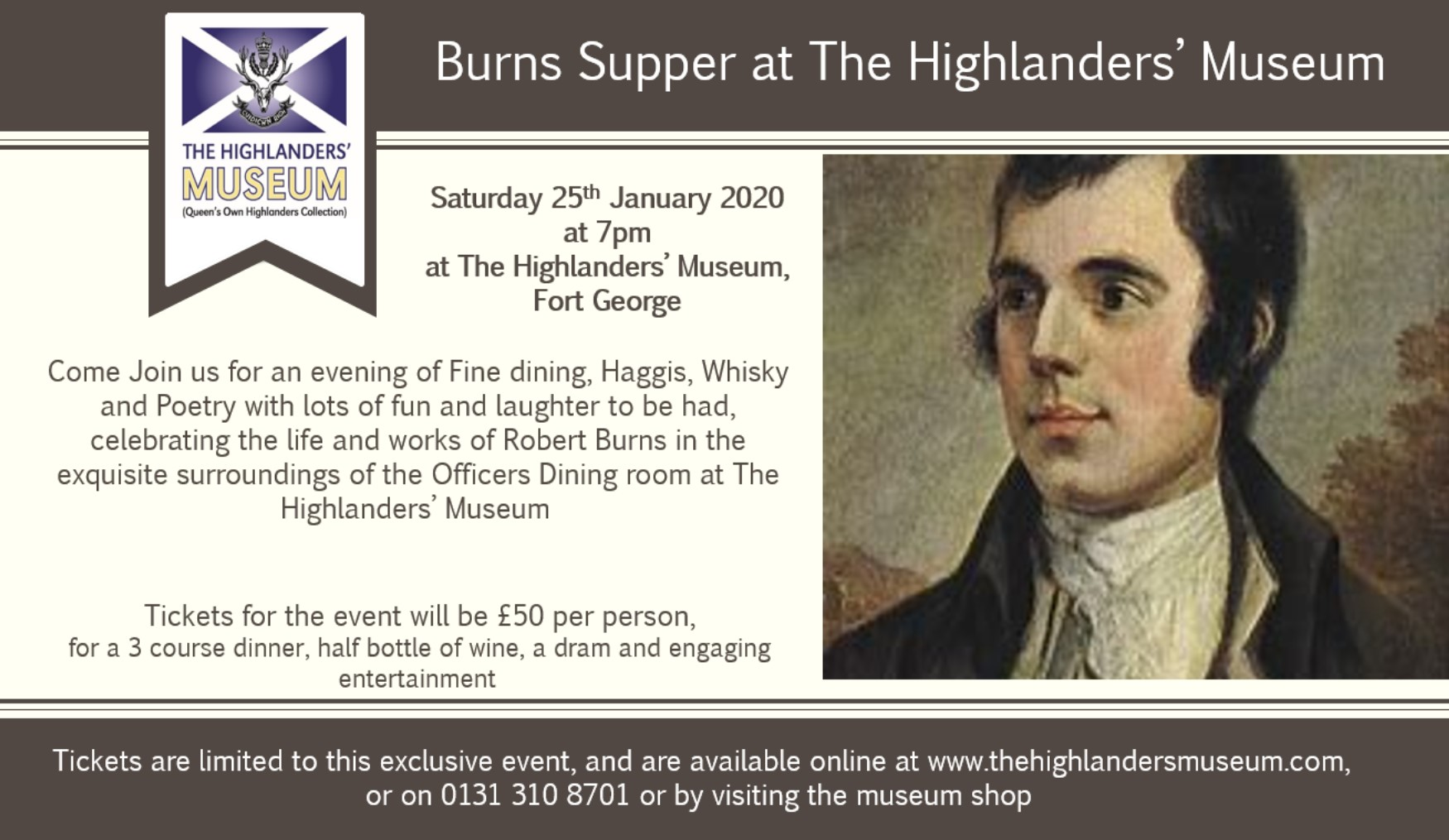 Burns Supper at the Highlanders' Museum