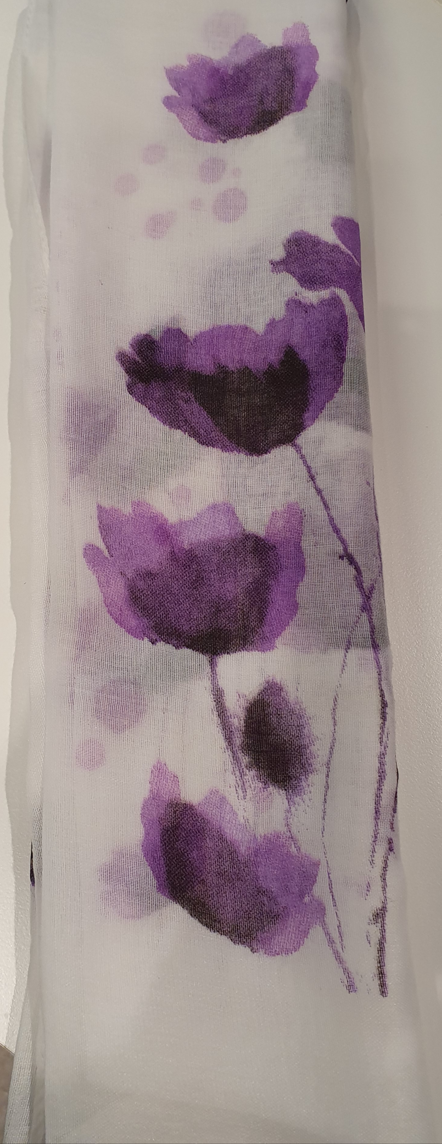 Purple Poppy on White Scarf