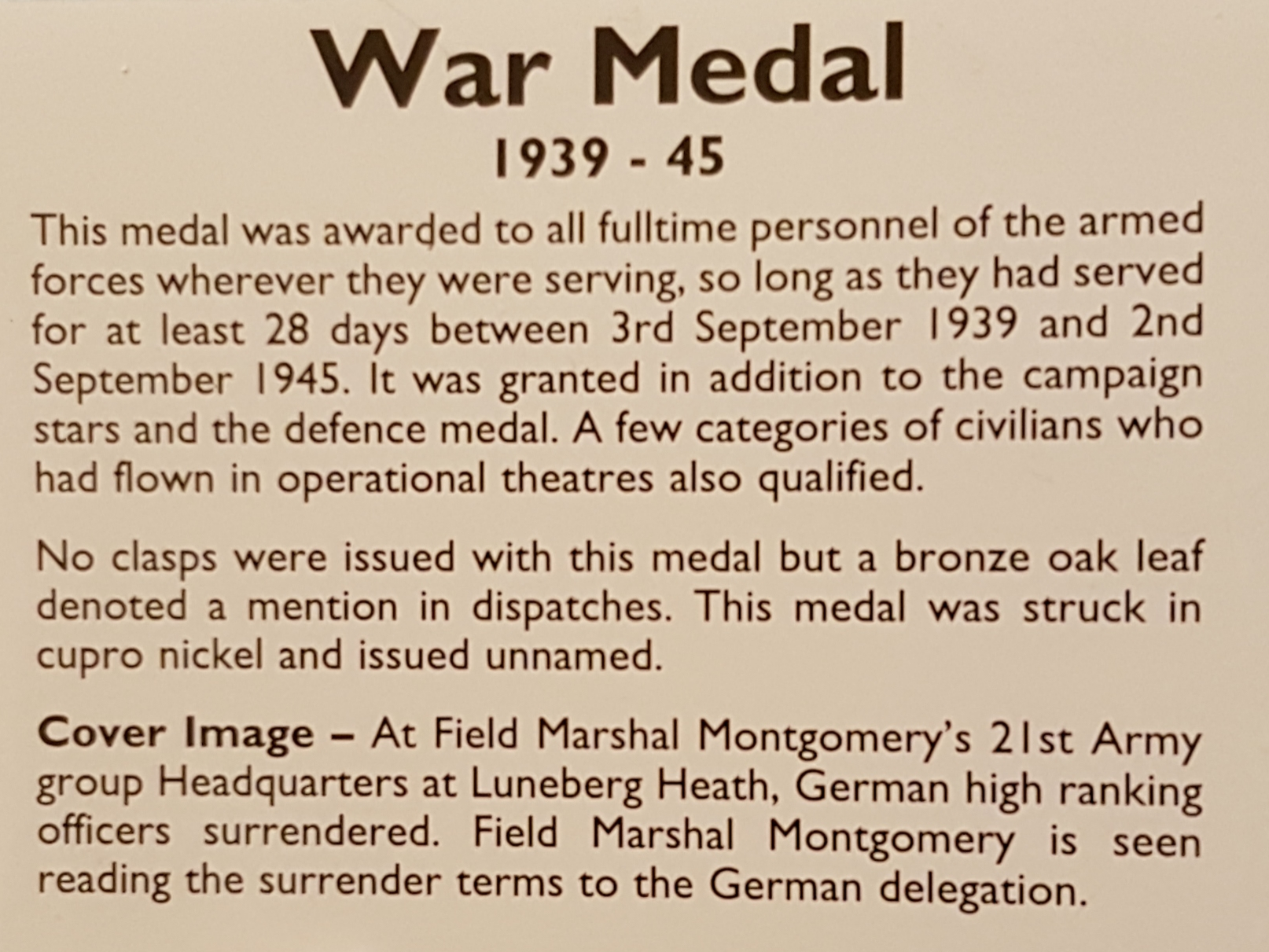 War Medal 1939 - 45 - miniature