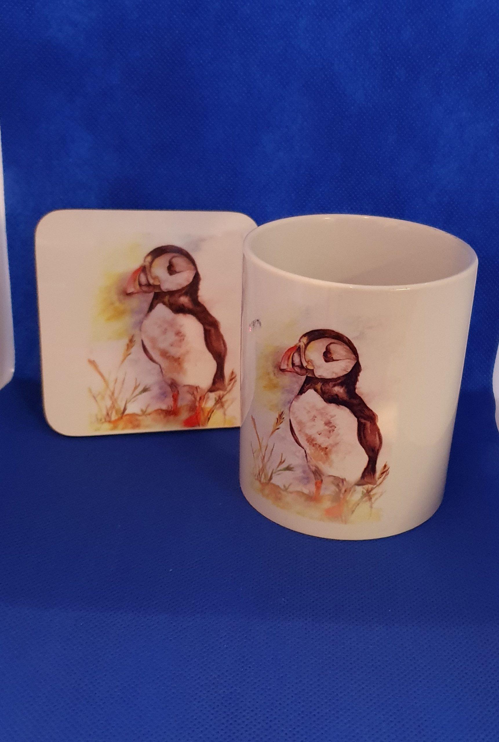 Coaster & Mug Puffin