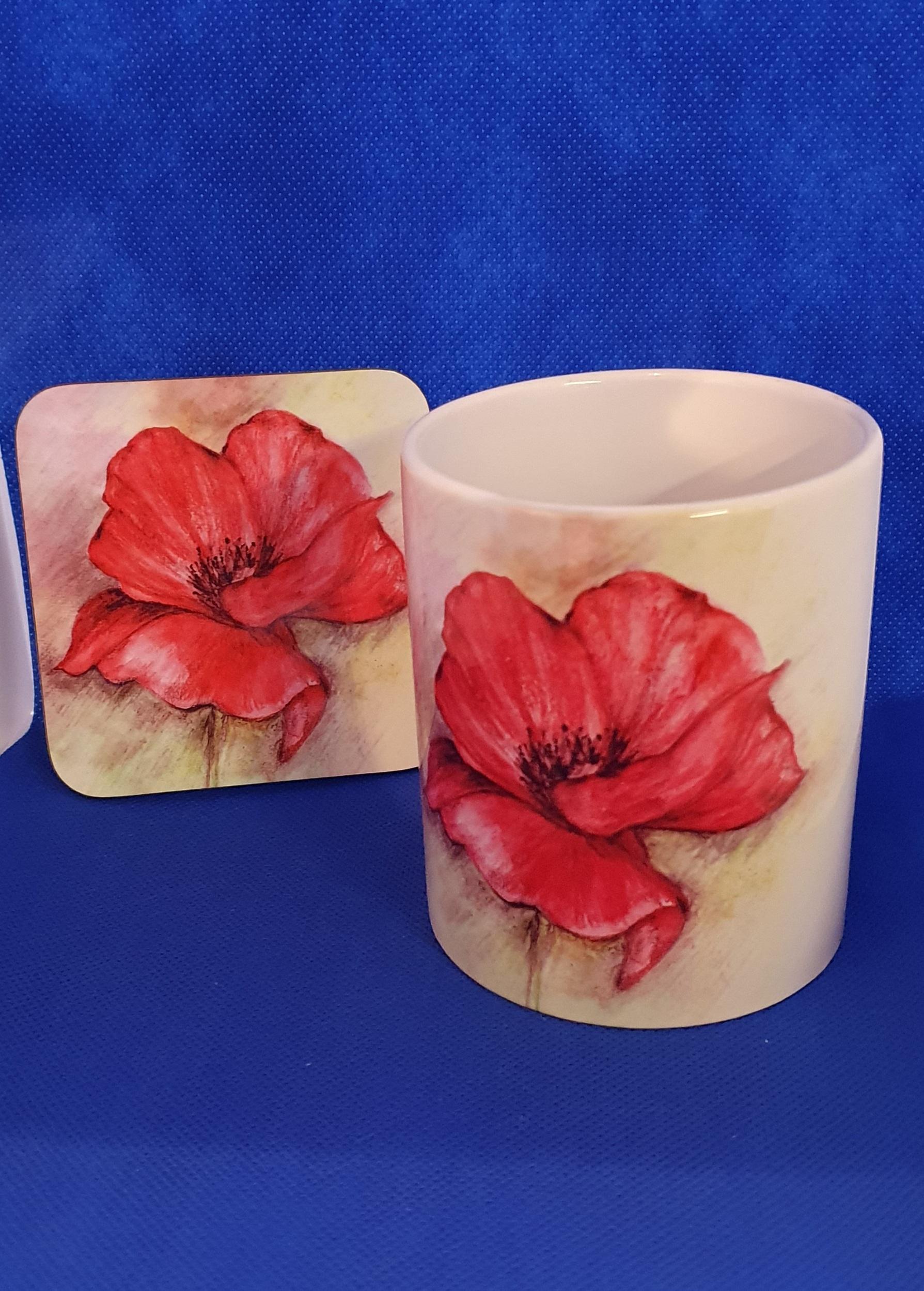 Coaster & Mug Poppy