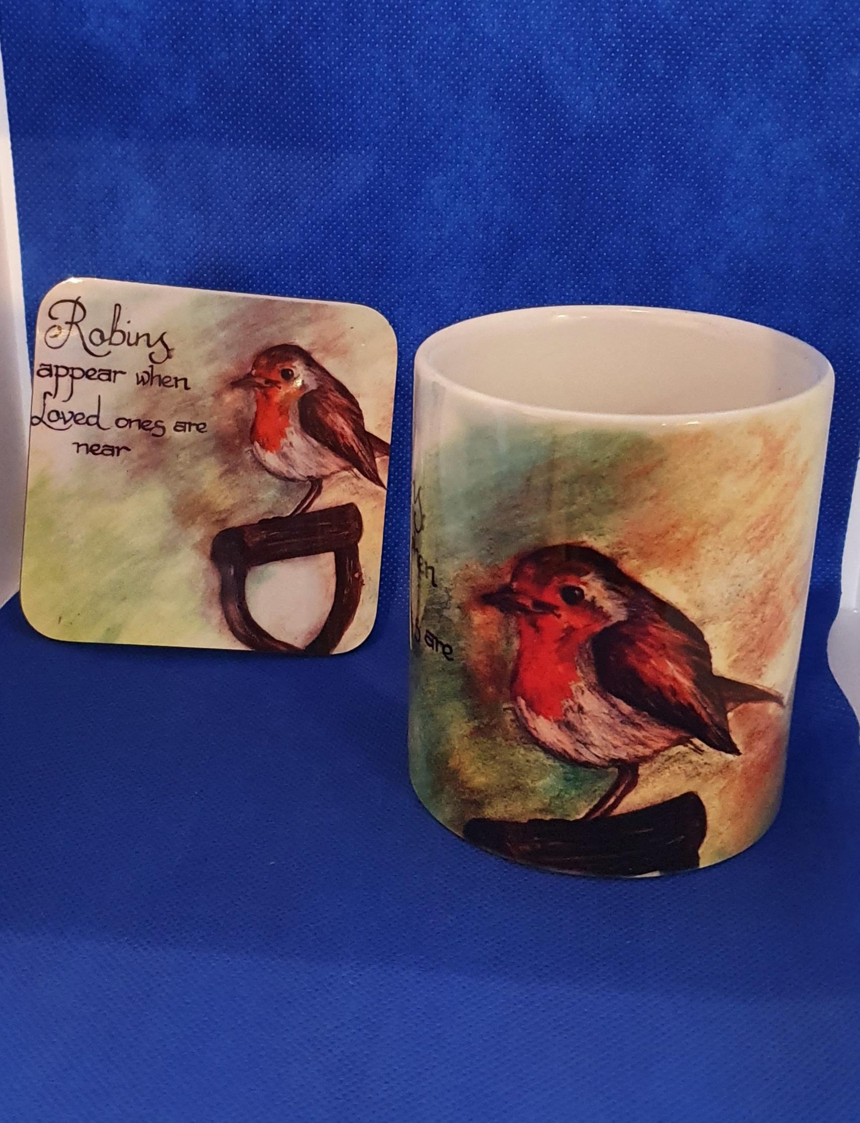 Coaster & Mug Robin