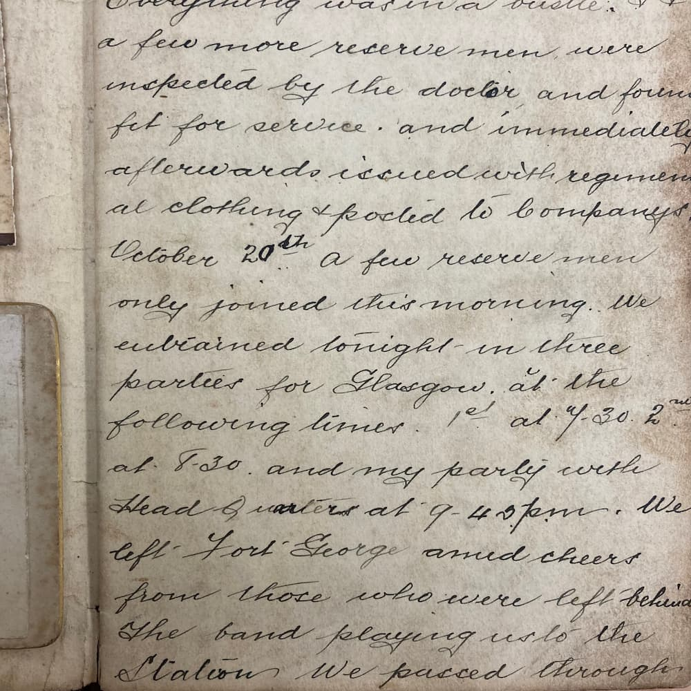 Page from the diary of John Winning dates 20th October 1899