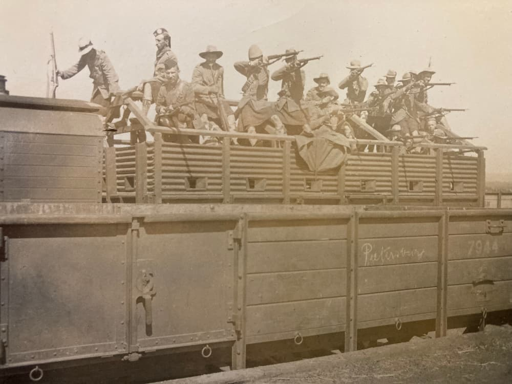 Argyll and Sutherland Highlanders in an armoured train