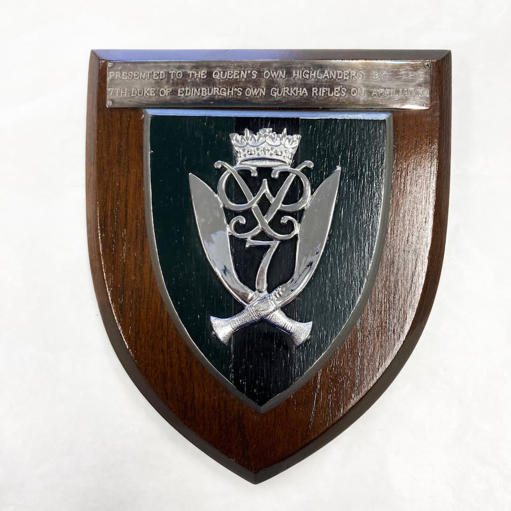 Gurkha plaque presented by Duke of Edinburgh
