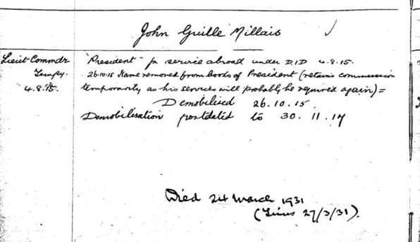 Military Record for J G Millais
