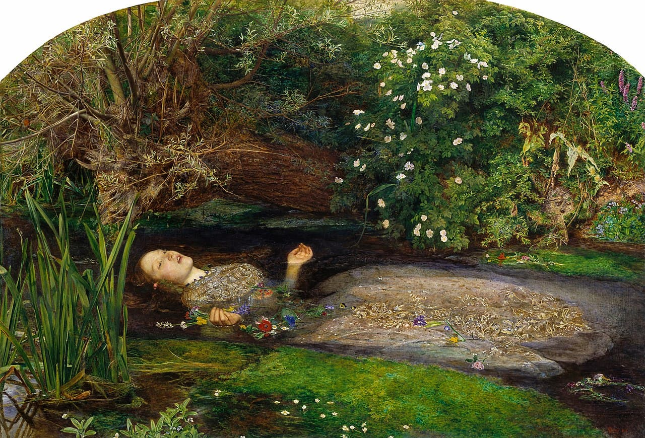 'Ophelia' by John Everett Millais, 1851-2, image courtesy of Wikipedia Commons Public Domain